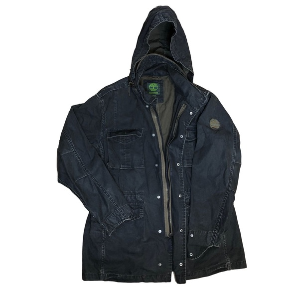 Men's Timberland Denim Cargo Hooded Jacket L